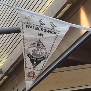 Walberswick pennant on display at the Federation Annual Meeting on 7 March 2017 attended by Doris Brynley-Jones, Irene Prince, Sue Flack and Sue Pearson